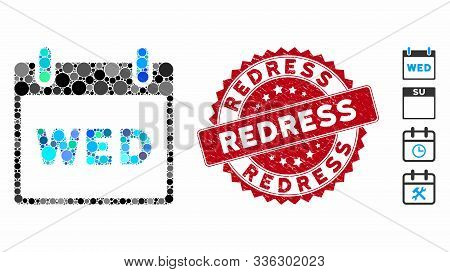 Mosaic Wednesday Calendar Page Icon And Distressed Stamp Seal With Redress Caption. Mosaic Vector Is