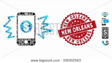 Mosaic Payment Phone Ring Icon And Grunge Stamp Seal With New Orleans Phrase. Mosaic Vector Is Forme