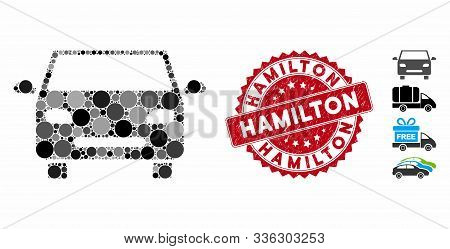 Collage Car Icon And Distressed Stamp Seal With Hamilton Text. Mosaic Vector Is Designed With Car Ic