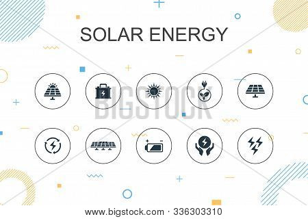 Solar Energy Trendy Infographic Template. Thin Line Design With Sun, Battery, Renewable Energy, Clea