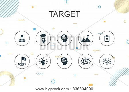 Target Trendy Infographic Template. Thin Line Design With Big Idea, Task, Goal, Patience Icons