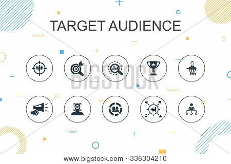 Target Audience Trendy Infographic Template. Thin Line Design With Consumer, Demographics, Niche, Pr
