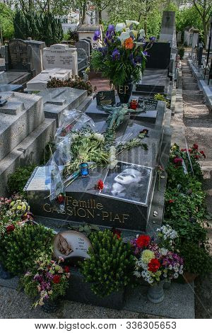 05.04.2008, Paris, France. The Tomb Of Singer Piaf In Père Lachaise Cemetery. Walking Around Paris.