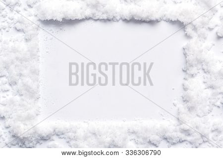 Christmas Snow Effect Background For Message Board With Snowflakes Border And White Winter Style Cen