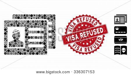 Collage Patient Cards Icon And Grunge Stamp Seal With Visa Refused Caption. Mosaic Vector Is Formed