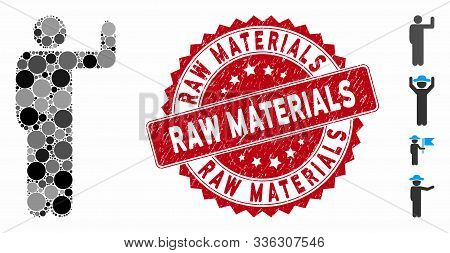 Mosaic Vote Pose Icon And Distressed Stamp Seal With Raw Materials Phrase. Mosaic Vector Is Designed
