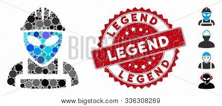 Mosaic Alien Worker Icon And Grunge Stamp Seal With Legend Phrase. Mosaic Vector Is Created With Ali