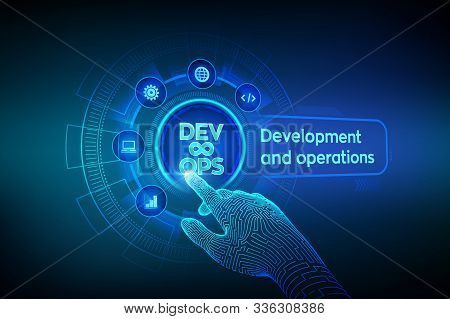 Devops. Agile Development And Optimisation Concept On Virtual Screen. Software Engineering. Software
