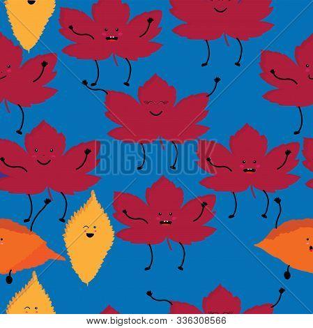 Cute Kawaii Style Leafage Seamless Illustration; Vector Illustration;