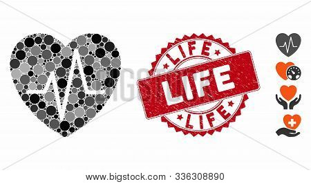 Mosaic Cardiology Heart Pulse Icon And Distressed Stamp Watermark With Life Caption. Mosaic Vector I