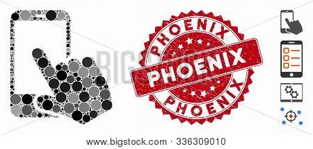 Mosaic Smartphone Point Icon And Grunge Stamp Seal With Phoenix Phrase. Mosaic Vector Is Created Fro