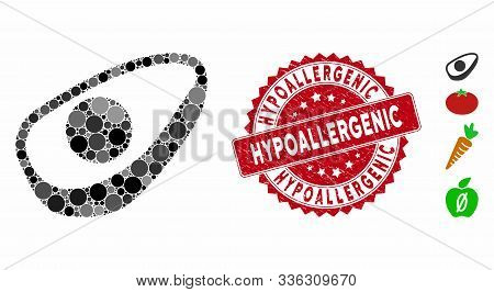 Mosaic Avocado Half Icon And Grunge Stamp Seal With Hypoallergenic Text. Mosaic Vector Is Created Fr