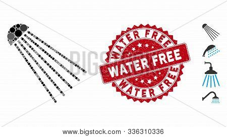 Mosaic Spray Source Icon And Grunge Stamp Seal With Water Free Caption. Mosaic Vector Is Created Fro