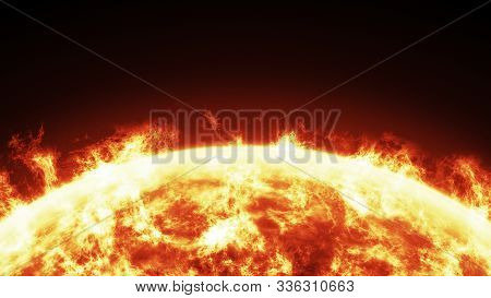 Close-up Of The Sun Burning Brightly On A Black Background