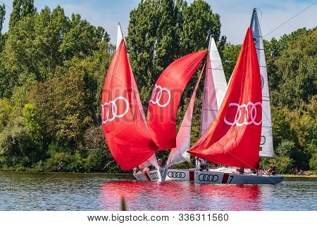 Kyiv Ukraine, The Dnieper River August 25, 2019. People Sail On Yachts That Are Rented At Yacht Club