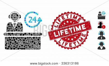 Collage Everytime Support Desk Icon And Grunge Stamp Seal With Lifetime Text. Mosaic Vector Is Forme