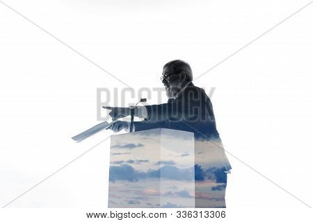 Proof. Speaker, Coach Or Chairman During Politician Speech Isolated On White Background. Double Expo