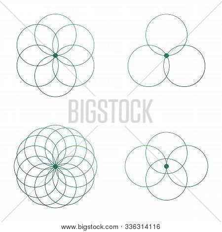 Flower Of Life Scientific Tattoo Sketch With Mystic Interlocking Circles Ancient Symbol.