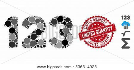 Mosaic Digits Icon And Grunge Stamp Seal With Limited Quantity Phrase. Mosaic Vector Is Composed Wit
