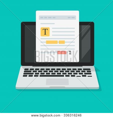 Text File Or Document Content Editing Online On Computer Vector Icon, Flat Cartoon Creating Online N