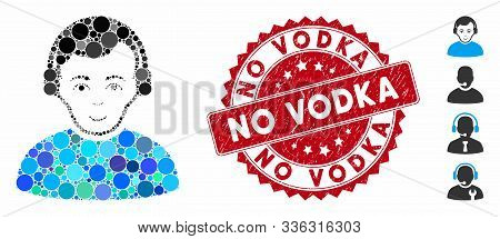 Mosaic Radioman Icon And Rubber Stamp Seal With No Vodka Caption. Mosaic Vector Is Designed From Rad