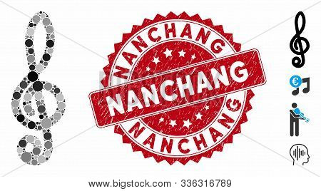 Mosaic Musical Notation Icon And Corroded Stamp Seal With Nanchang Phrase. Mosaic Vector Is Created