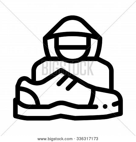 Shoes Shoplifter Human Icon Vector. Outline Shoes Shoplifter Human Sign. Isolated Contour Symbol Ill