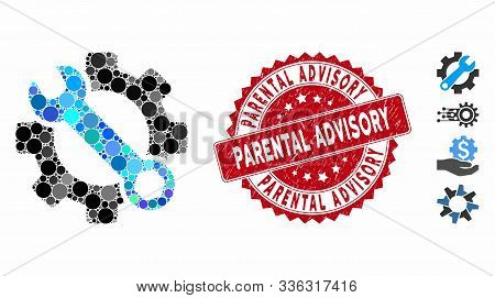 Mosaic Service Tools Icon And Grunge Stamp Seal With Parental Advisory Phrase. Mosaic Vector Is Form