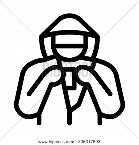 Shoplifter With Goods Icon Vector. Outline Shoplifter With Goods Sign. Isolated Contour Symbol Illus