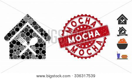 Mosaic Food Court Icon And Grunge Stamp Seal With Mocha Caption. Mosaic Vector Is Formed From Food C