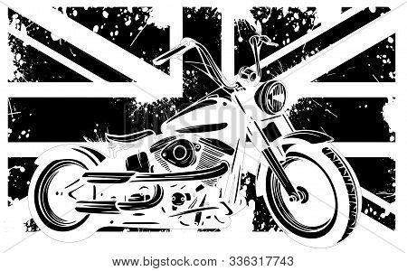 Motorbike And British Flag And Motorbike Vector