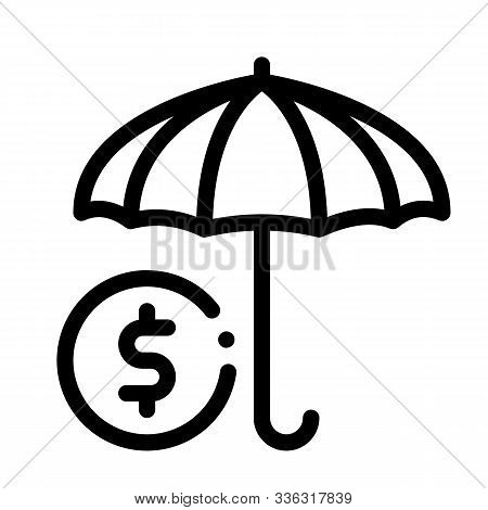 Umbrella With Color Sectors Icon Vector. Outline Umbrella With Color Sectors Sign. Isolated Contour