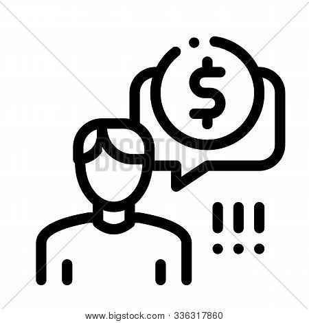 Man Persistently Waiting For Salary Icon Vector. Outline Man Persistently Waiting For Salary Sign. I