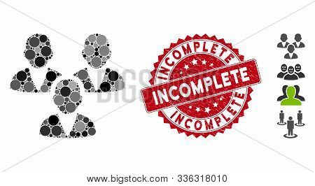 Mosaic Customer Group Icon And Corroded Stamp Seal With Incomplete Phrase. Mosaic Vector Is Composed