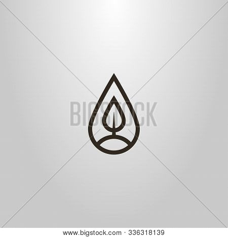 Black And White Simple Vector Line Art Sign Of A Tree Or Leaf In A Teardrop-shaped Frame