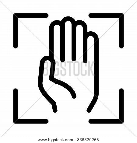 Person Handprint Scan Icon Vector. Outline Person Handprint Scan Sign. Isolated Contour Symbol Illus