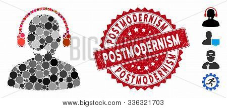 Collage Telemarketing Icon And Grunge Stamp Watermark With Postmodernism Text. Mosaic Vector Is Comp