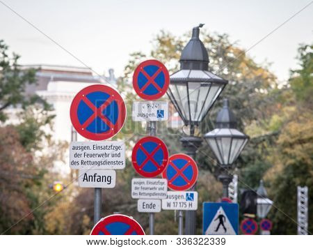 Vienna, Austria - November 6, 2019: No Stopping Signs, Many Of Them On A Single Place, Abiding By Eu
