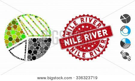 Collage Pie Chart Icon And Corroded Stamp Seal With Nile River Caption. Mosaic Vector Is Created Wit