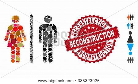 Mosaic Wc Icon And Grunge Stamp Seal With Reconstruction Phrase. Mosaic Vector Is Composed With Wc I