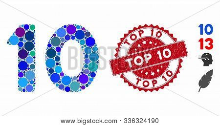 Mosaic 10 Digits Text Icon And Distressed Stamp Seal With Top 10 Phrase. Mosaic Vector Is Created Wi