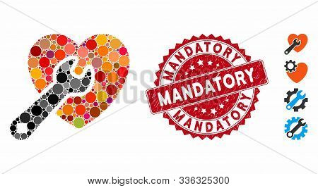 Mosaic Heart Repair Icon And Rubber Stamp Watermark With Mandatory Text. Mosaic Vector Is Formed Wit
