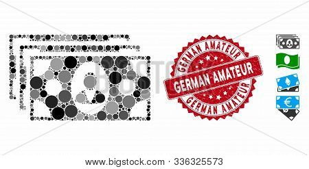Mosaic Banknotes Icon And Rubber Stamp Seal With German Amateur Phrase. Mosaic Vector Is Composed Wi