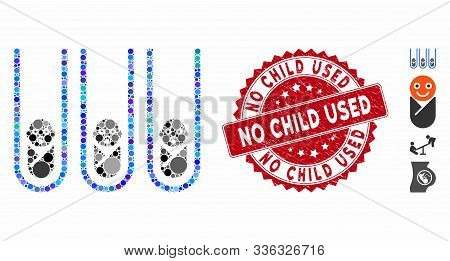 Collage Baby Cloning Test-tubes Icon And Rubber Stamp Watermark With No Child Used Caption. Mosaic V