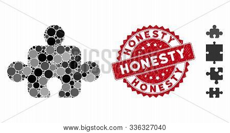 Mosaic Component Icon And Rubber Stamp Seal With Honesty Text. Mosaic Vector Is Composed With Compon