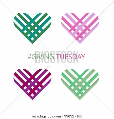 Special Day. Giving Tuesday Banner Design. Set Of 4 Hearts.