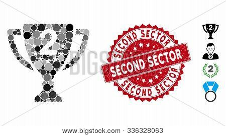 Mosaic Second Place Icon And Distressed Stamp Seal With Second Sector Phrase. Mosaic Vector Is Desig