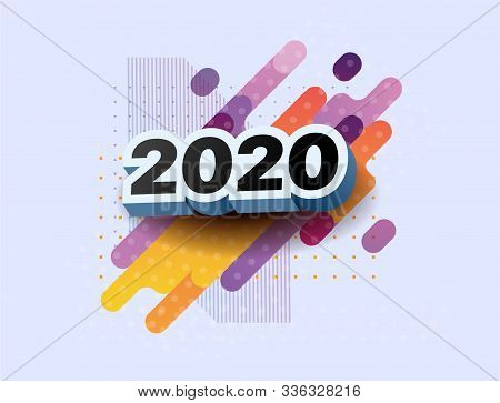 Happy New Year 2020 Logo Text Design. Vector Illustration 2020 Symbol Year From 3d Numbers On Colorf