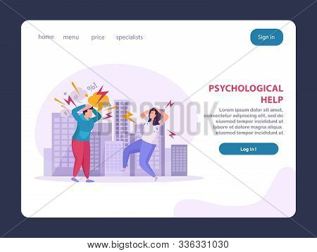 Mental Disorders Landing Page Layout Offering Psychological Help To People Suffering From Stress Pan
