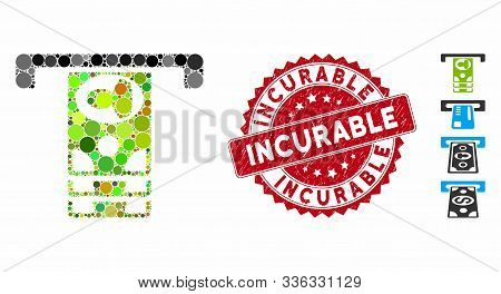 Mosaic Atm Icon And Rubber Stamp Seal With Incurable Caption. Mosaic Vector Is Formed With Atm Icon